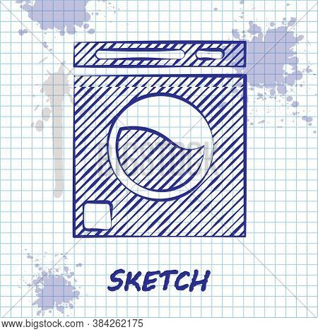 Sketch Line Washer Icon Isolated On White Background. Washing Machine Icon. Clothes Washer - Laundry
