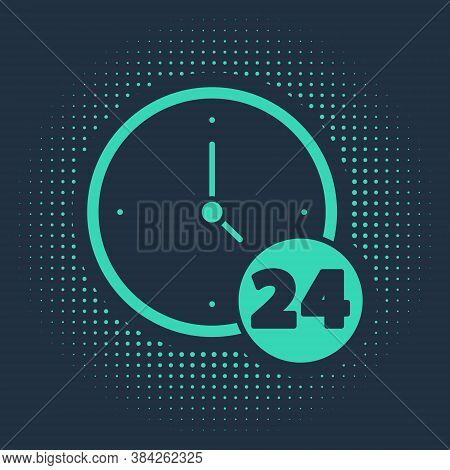 Green Clock 24 Hours Icon Isolated On Blue Background. All Day Cyclic Icon. 24 Hours Service Symbol.