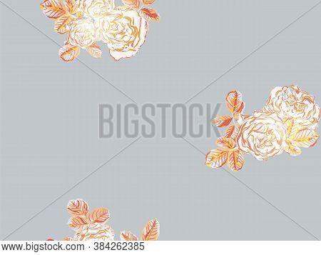 Rose Seamless Pattern. Girly Hawaiian Peony Background. Rust Orange And Yellow Botanic Rose Flower S