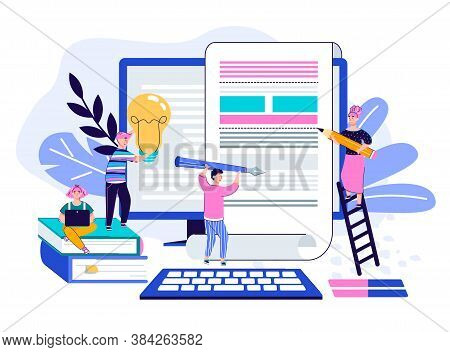 Creative Article Writing, Content Creation And Marketing Or Text Editing Service Website Concept. Ti