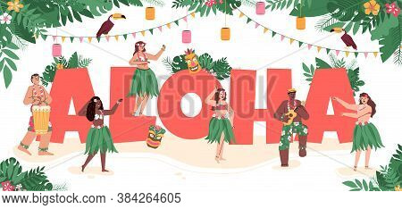 Hawaiian People Dancing Wearing Traditional Dresses Around Aloha Sign Decorated. Men And Women Danci