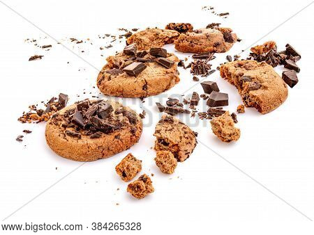 Chocolate Chip Cookie With Chocolate Pieces And Shavings, Isolated On White Background. Cookies With