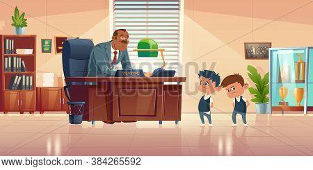 Teacher Meeting With Kids In Principals Office. Vector Cartoon Illustration Of Kind Man School Headm
