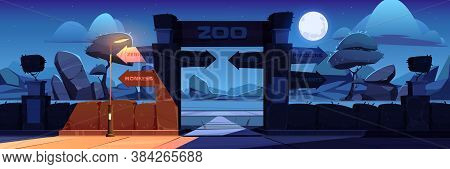 Zoo Entrance With Wooden Board On Arch At Night. Vector Cartoon Landscape With Entry Gates To Zoolog