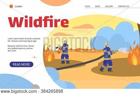 Wildfire Banner Template - Firemen Extinguishing Wild Fire With Water And Extinguisher. Cartoon Fire