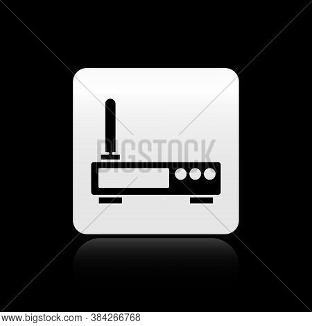Black Router And Wi-fi Signal Icon Isolated On Black Background. Wireless Ethernet Modem Router. Com