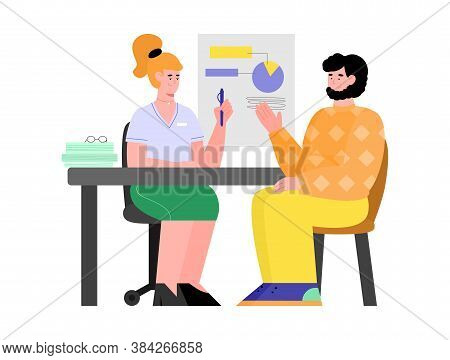 Consultation With Specialist And Professional Expert, Cartoon Vector Illustration Isolated On White