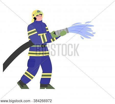 Firefighter Kneeling With Fire Hose Fighting Fire And Smoke Set. Fireman Wearing Uniform Rescueing P