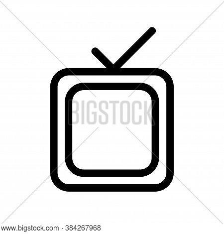 Retro Tv Icon In Flat. Simple Vector Illustration. Television Simbol.