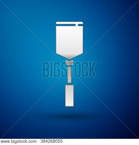 Silver Spatula Icon Isolated On Blue Background. Kitchen Spatula Icon. Bbq Spatula Sign. Barbecue An