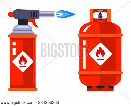 Set Of Portable Gas Burner And Gas Cylinder On A White Background. Flat Vector Illustration.