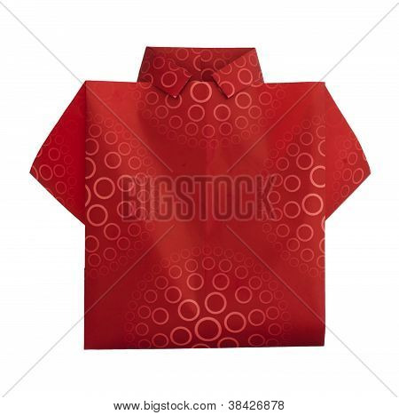 Isolated Paper Made Red Shirt.