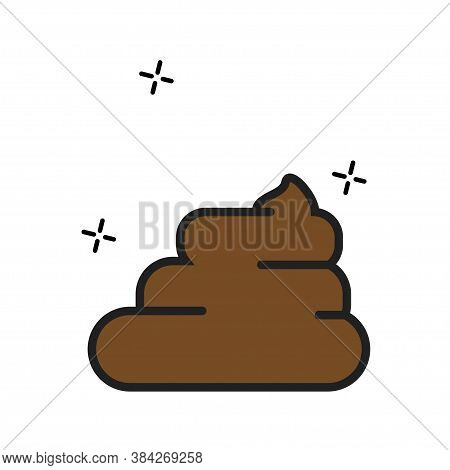 Vector Poop Isolated Simple Illustration In Flat. Poo Cartoon Icon.