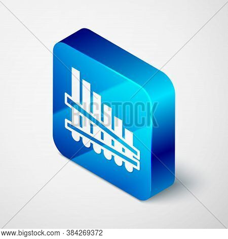Isometric Pan Flute Icon Isolated On Grey Background. Traditional Peruvian Musical Instrument. Zampo