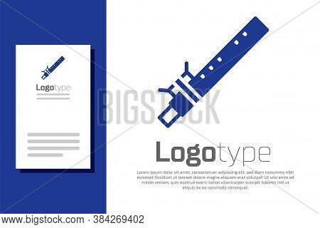 Blue Bamboo Flute Indian Musical Instrument Icon Isolated On White Background. Logo Design Template