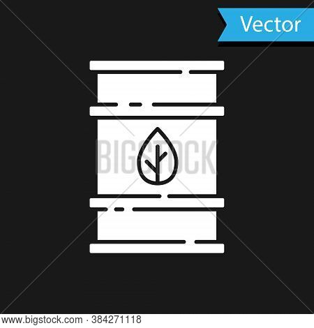 White Bio Fuel Barrel Icon Isolated On Black Background. Eco Bio And Canister. Green Environment And