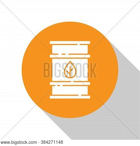 White Bio Fuel Barrel Icon Isolated On White Background. Eco Bio And Canister. Green Environment And
