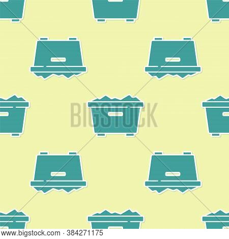 Green Trash Can Icon Isolated Seamless Pattern On Yellow Background. Garbage Bin Sign. Recycle Baske