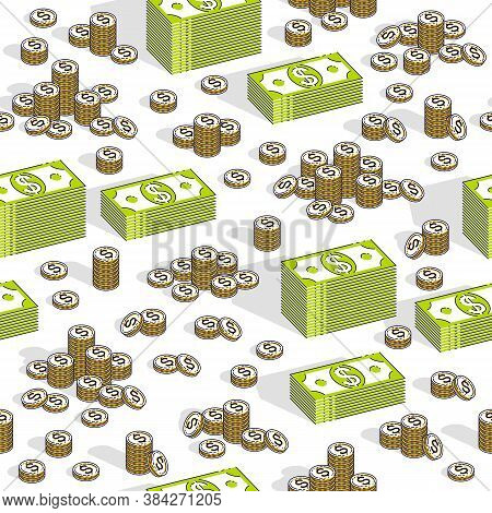 Money Cash Seamless Background, Backdrop For Financial Business Website Or Economical Theme Ads And