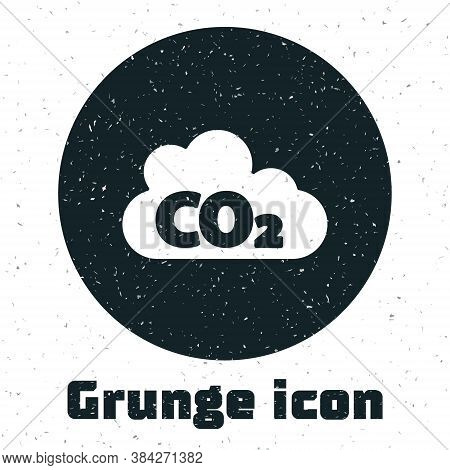 Grunge Co2 Emissions In Cloud Icon Isolated On White Background. Carbon Dioxide Formula, Smog Pollut