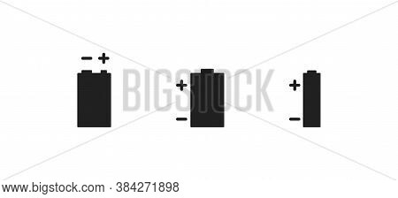Fuel Power Battery, Simple Icon Set. Alkaline Isolated Concept In Vector Flat