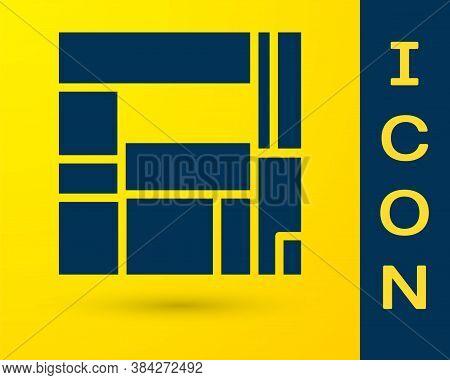 Blue House Edificio Mirador Icon Isolated On Yellow Background. Mirador Social Housing By Mvrdv Arch