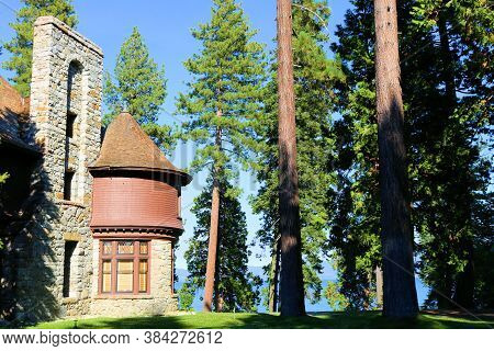 September 3, 2020 In Lake Tahoe, Ca:  Historical Hellman-ehrman Mansion Surrounded By A Manicured La