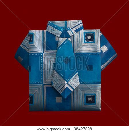 Isolated Paper Made Shirt With Ornaments.