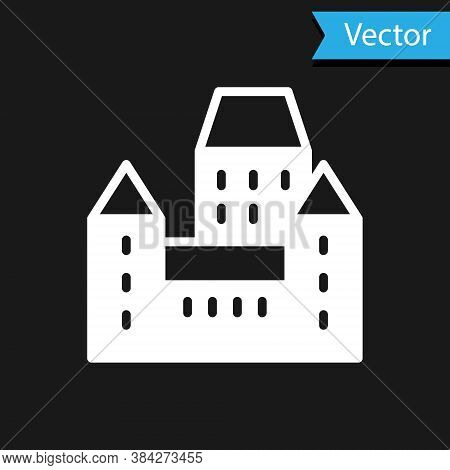 White Chateau Frontenac Hotel In Quebec City, Canada Icon Isolated On Black Background. Vector