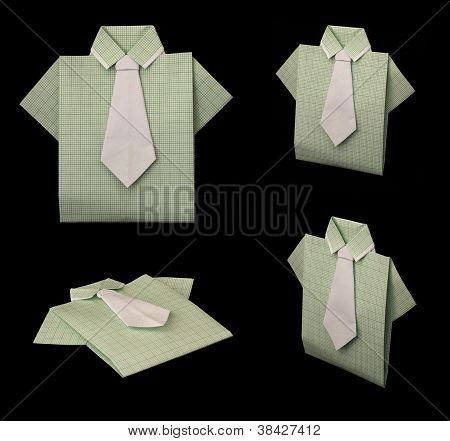 Isolated Paper Made Green Plaid Shirt.