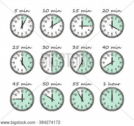 Time Intervals On Different Dials. 5 Minutes, 10 Minutes, Half An Hour. Set Of Hand-drawn Watches Is