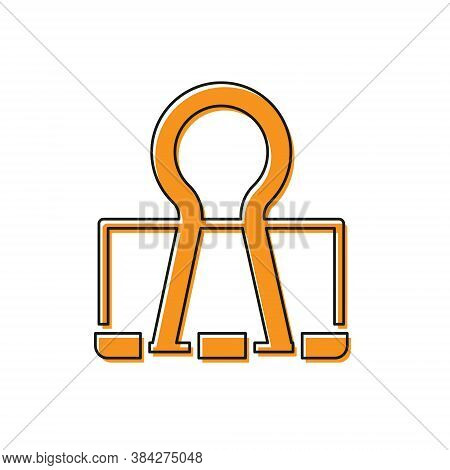 Orange Binder Clip Icon Isolated On White Background. Paper Clip. Vector