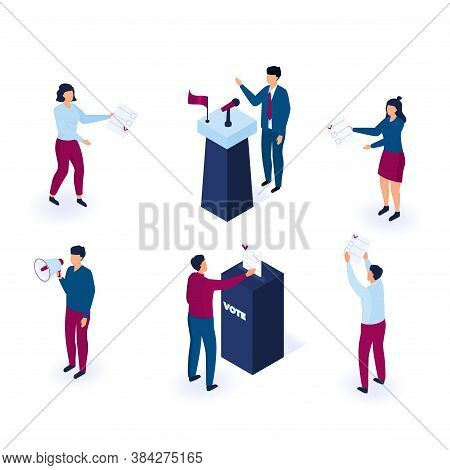 Political Voting Isometric People Illustration . Tiny Voters Near A Huge Ballot Box Cast A Vote. The
