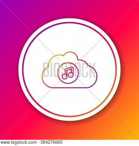 Color Line Music Streaming Service Icon Isolated On Color Background. Sound Cloud Computing, Online