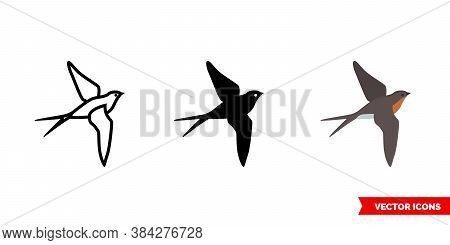 Barn Swallow Icon Of 3 Types Color, Black And White, Outline. Isolated Vector Sign Symbol.