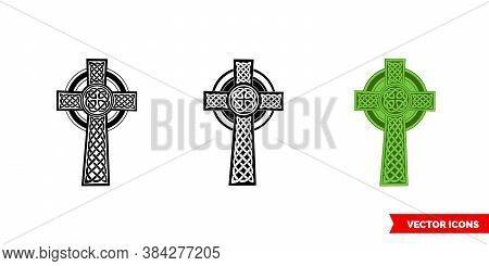 Celtic Cross Icon Of 3 Types Color, Black And White, Outline. Isolated Vector Sign Symbol.