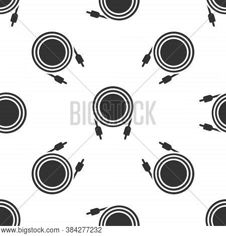 Grey Audio Jack Icon Isolated Seamless Pattern On White Background. Audio Cable For Connection Sound