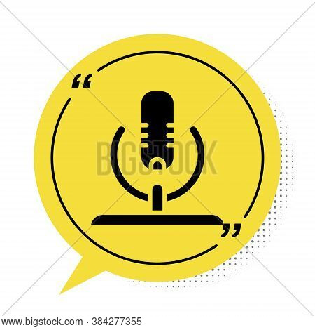 Black Microphone Icon Isolated On White Background. On Air Radio Mic Microphone. Speaker Sign. Yello