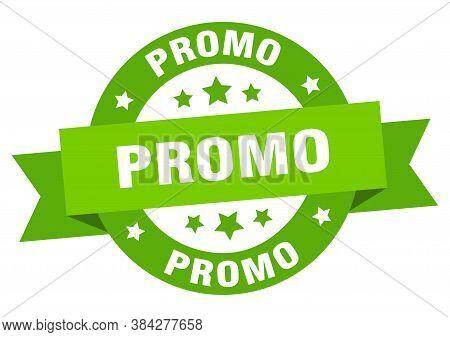 Promo Round Ribbon Isolated Label. Promo Sign