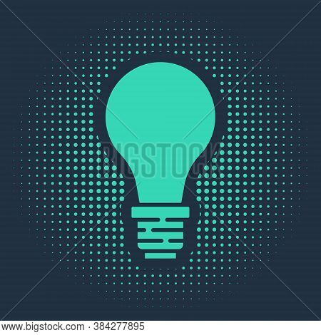 Green Light Bulb With Concept Of Idea Icon Isolated On Blue Background. Energy And Idea Symbol. Insp