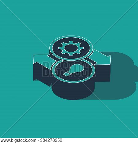 Isometric Human Resources Icon Isolated On Green Background. Concept Of Human Resources Management,