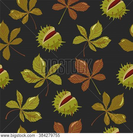 Autumn Seamless Pattern. Chestnuts With Peels And Leaves. Print For Fabric, Web Page Background, Pac