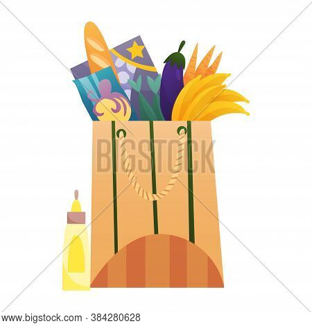 Paper Shopping Bag Products Grocery. Vegetables, Bread, Dairy Products. Grocery Supermarket. Fresh H