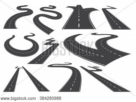 Bending Roads, High Ways Or Roadways. Collection Of Winding Road Design Elements With White Markings