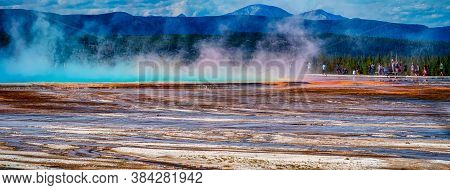 Grand Prismatic Spring In Yellowstone National Park In Wyoming