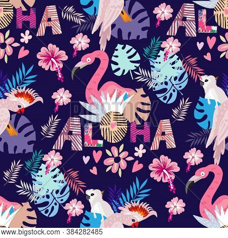 Beautiful Colorful Seamless Pattern With Parrot, Macaw, Jaco,  Pink Flamingo Bird,  Lettering And Ex