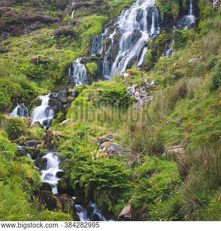 View Of Bride Veil Waterall On The Isle Of Skye, Scotland. Beautiful Collection Of Many Smaller Fall