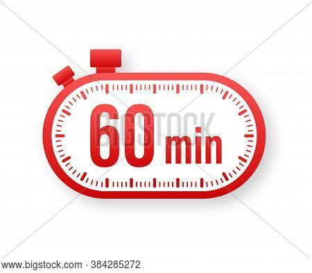 The 60 Minutes, Stopwatch Vector Icon. Stopwatch Icon In Flat Style, Timer On On Color Background. V