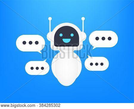 Robot Icon. Bot Sign Design. Chatbot Symbol Concept. Voice Support Service Bot. Online Support Bot.