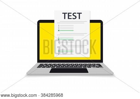 Laptop With Window Online Testing Form. Online Exam. Computer With Online Form Survey. Knowledge Tes